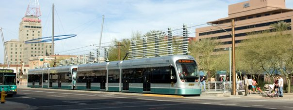 Light rail train in downtown Phoenix (photo: Johnny Transit)