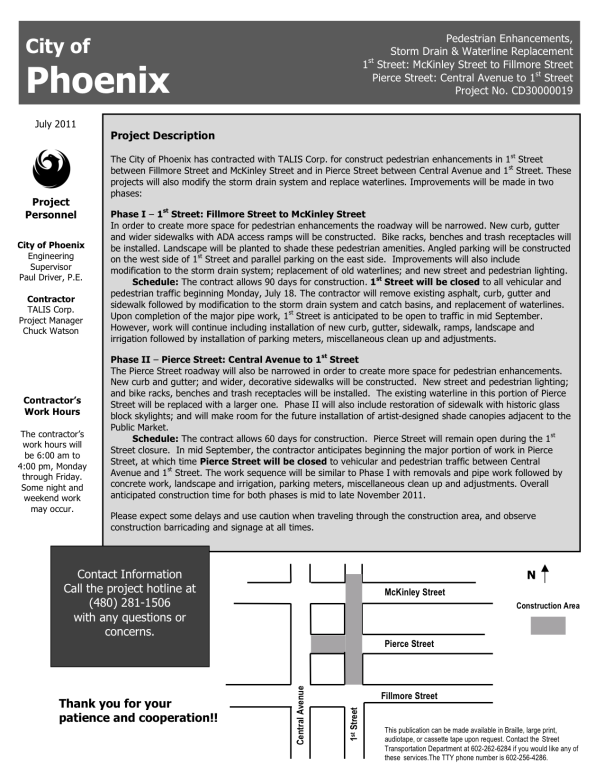 Flyer from the City of Phoenix detailing improvements on 1st Street; click to download PDF verison