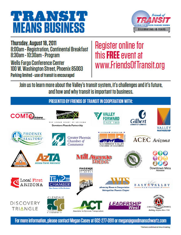 Poster for Friends of Transit's Transit Means Business conference