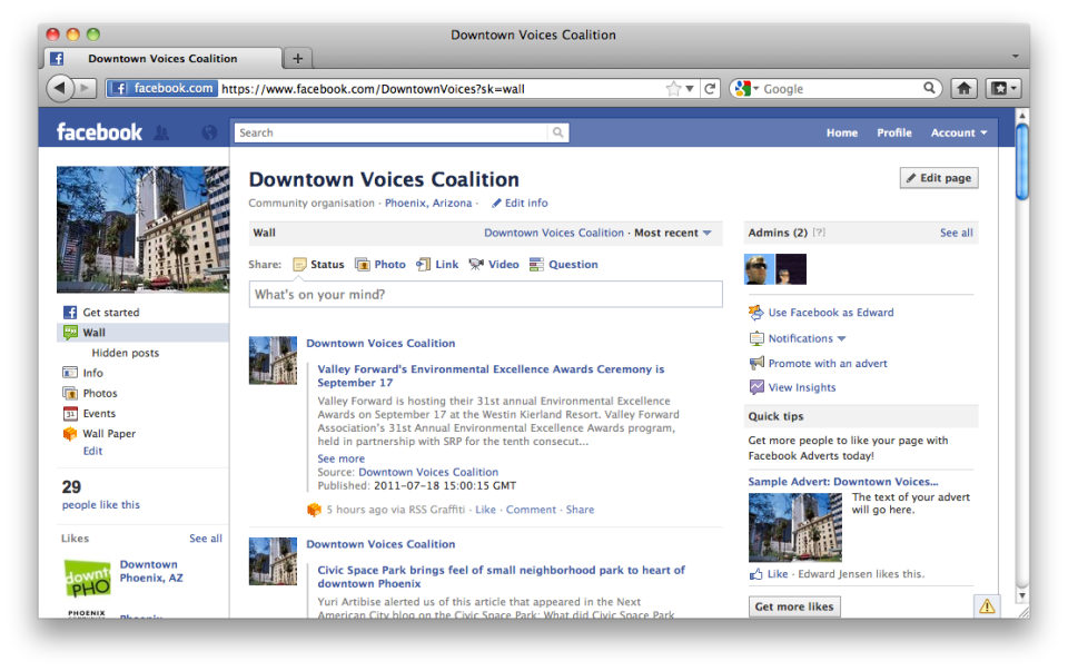 Screen capture of the DVC Facebook page