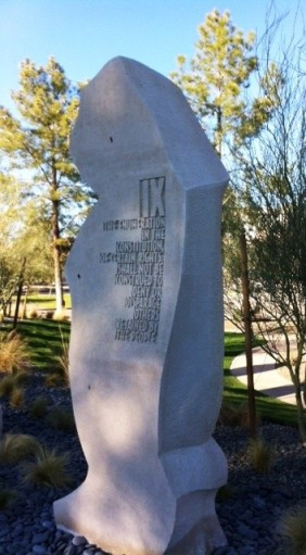 9th Amendment monolith, one of 10 limestone carvings commemorating the Bill of Rights, located in Wesley Bolin Plaza, Phoenix, Ariz.  (photo: Jim McPherson)