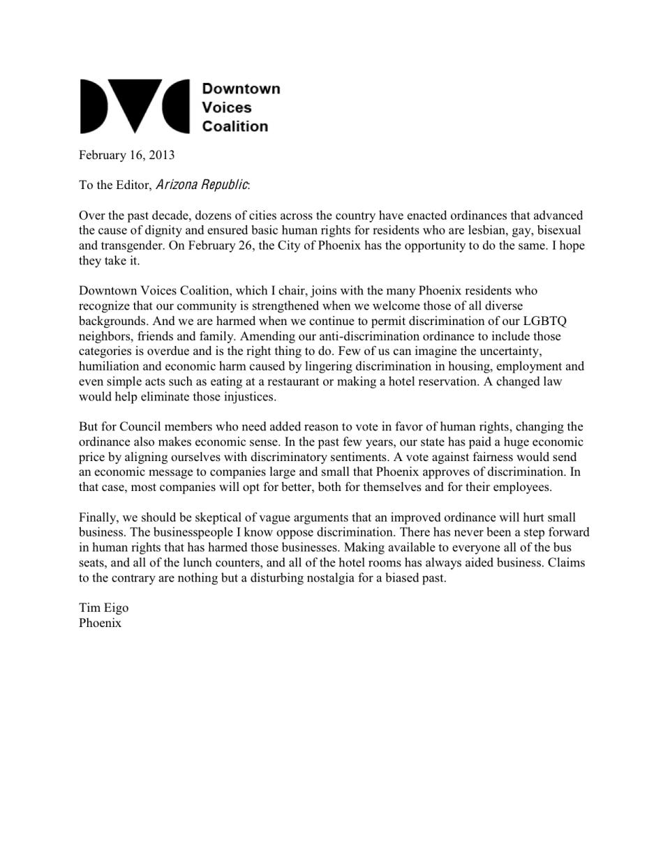 DVC AZ Republic letter re discrimination ordinance 02-16-13 final